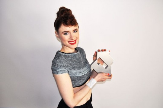 Kiesza celebrates first UK number 1! Photo from The Official Charts Company.